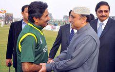 LARKANA: December 26 - President Asif Ali Zardari shaking hands with cricket legend Javed Miandad during inauguration of the Shaheed Mohtarma Benazir Bhutto International Cricket Stadium at Garhi Khuda Bakhsh.