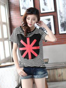 MY6123 Plus Size Classic Casual Cartoon Applique Joker Stripes T-shirt Black [MY6123] - $15.25 : China,Korean,Japan Fashion clothing wholesale and Dropship online-Be the most beautiful Lady