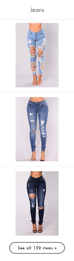 """Jeans"" by xoxochychy ❤ liked on Polyvore featuring jeans, bottoms, destroyed jeans, plus size jeans, women's plus size jeans, light wash jeans, distressing jeans, skinny leg jeans, blue high waisted jeans and skinny fit jeans"