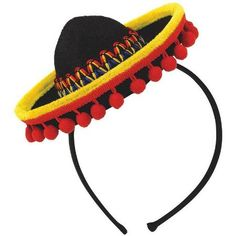 Our Mini Mariachi sombrero headband features a colorful stitched design, yellow brim and red pom-pom trim attached to a headband. Mini Mariachi Hat Headband is perfect for your Cinco de Mayo or fiesta themed celebration. One size fits most and comes one per package.