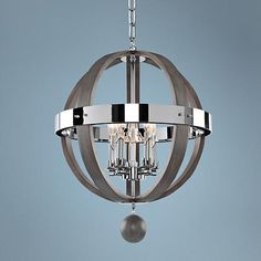 "Sharlow Charcoal and Silverleaf Glass 19""W 5-Light Pendant - #7W046 