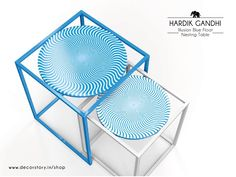The Illusion Blue Float Nesting Table by Hardik Gandhi, adds a pop of colour to an otherwise boring area. #DecorStory #Illusion #Pop #NestingTable #HardikGandhi #Interiors #Lifestyle #Luxury #Decor #DesignGandhi www.decorstory.in