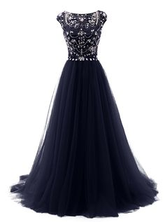 Long Beads Prom Dress Tulle Cap Sleeves Evening Dress, Navy prom dresses,Navy…