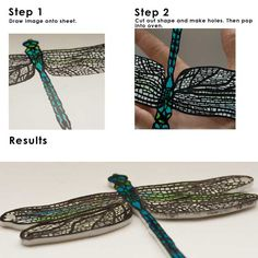 Beautiful dragonfly made of shrink plastic.