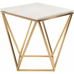 Share and Save $5 Off Any Order Over $99. (excludes a few products) Nuevo Jasmine Side Table w/ White Marble on Geometric Gold Brushed Stainless Base #dynamichome