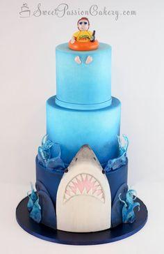Custom cakes for all occasions 18th Birthday Cake Designs, Boys Birthday Cakes Easy, Ocean Birthday Cakes, Baby Boy Birthday Cake, Themed Birthday Cakes, 9th Birthday, Birthday Ideas, Beach Themed Cakes, Shark Cake