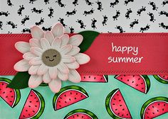 Lawn Fawn Happy Summer; watermelon; repeat stamping; big flower die; pink and green; Lawn Fawn Make Me Smile