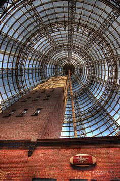 Melbourne Central - Inside the glass dome with the Historic Shot Tower inside. Victoria  #Australia Places In Melbourne, Melbourne Travel, Melbourne Shopping, Melbourne Street, Melbourne Central, Melbourne Australia, South Australia, Victoria Australia, Melbourne Graffiti