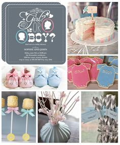 Pastel pink and baby blue gender reveal baby shower inspiration.