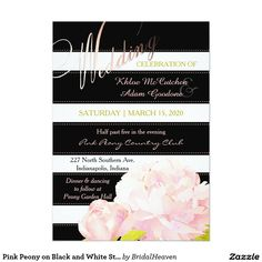 Pink Peony on Black and White Stripes Wedding