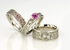 Artistic #4: Garden Gate 14k with pink sapphires and diamonds ranging from 4mm-7.75mm.