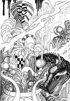 An image of Hela and Níðhöggr by Jan Fries, from his book Helrunar.