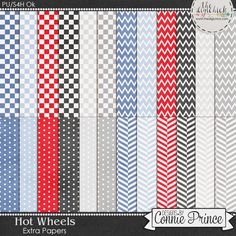 Hot Wheels - Extra Papers by Connie Prince. Includes 24 basic patterned papers. Scrap for hire / others ok.