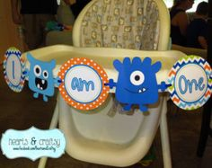 Monster Party Happy Birthday Banner Little by HeartsandCraftsy