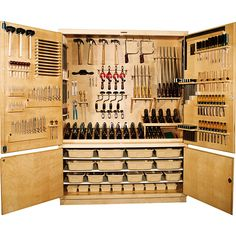 Tool Storage. I would love to get some unused armoire and turn it into elegant tool storage in the garage. This is a good pin detailing what I would like to do. I would prefer to have some pegboard in there along with a darker stain or paint. I'd also like to replace the baskets with pull-out drawers.