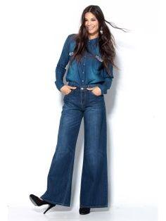 Pantalón largo ancho vaquero pata elefante mujer Jeans Store, Wide Leg Denim, Bell Bottoms, Bell Bottom Jeans, Casual Outfits, Pants, Closet, Fashion, Vestidos
