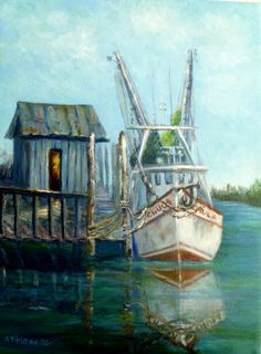 Trendy Ideas For Fishing Boats Painting Canvases Art Plage, Boat Illustration, Shrimp Boat, Louisiana Art, New Orleans Art, Boat Art, Boat Painting, Fishing Boats, Landscape Art