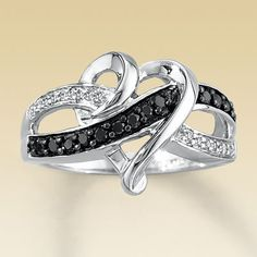 Sterling Silver 1/5 Carat t.w. Diamond Heart Ring : Jewelry Fashion