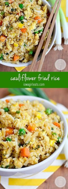 Fried Rice (Video) - Iowa Girl Eats Cauliflower Fried Rice will trick your tastebuds in the best way possible. This 20 minute grain-free, low-carb dish will be a hit at your house! Cauliflower Recipes, Veggie Recipes, Paleo Recipes, Low Carb Recipes, Cooking Recipes, Rice Recipes, Recipes Dinner, Parmesan Cauliflower, Veggie Food