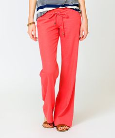 Look at this Sawyer Cove Coral Capitola Linen-Blend Pants on #zulily today!
