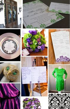 Allison's letterpress damask-inspired wedding invitation suite was to-die-for.  Her purple and emerald color palette was nothing short of regal.  And balanced with black? Even the most minimal of brides could get behind this design.  Thank you to Conrhod Zonio Photography for the beautiful photographs of Allison's ceremony and reception items! And thank you Allison for bringing such a bold, beautiful idea to the table to work from! Chi Omega girls really do make the most tasteful brides...