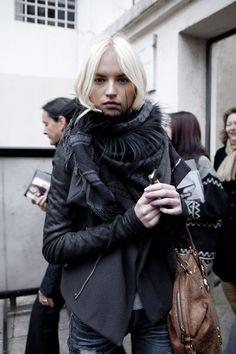 jacket, scarf, blonde