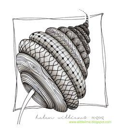 Zentangle drawn by Helen Williams / a little lime. Tangle Doodle, Tangle Art, Zen Doodle, Doodle Art, Zentangle Drawings, Doodles Zentangles, Doodle Drawings, Doodle Patterns, Zentangle Patterns