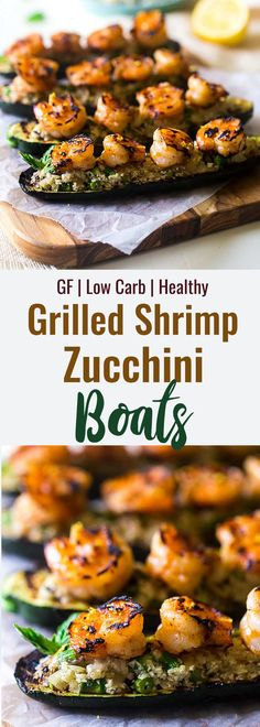 Low Carb Keto Shrimp Zucchini Boats - These Shrimp Zucchini Boats are grilled for a light, healthy Summer meal that is keto and paleo friendly. Under 200 calories too! | #Foodfaithfitness | #paleo #lowcarb #keto #healthy Healthy Weeknight Dinners, Healthy Grilling, Grilling Recipes, Quick Easy Meals, Healthy Summer Recipes, Healthy Dishes, Healthy Eating, Healthy Food, Low Carb Shrimp Recipes