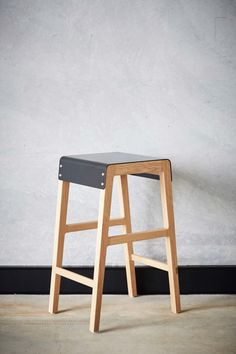A solid timber frame meets a folded steel seat to create the strong silhouette of the Willox Barstool Designed and made in Brisbane Queensland using FSC certified timbers and natural finishes. Black Bedroom Furniture, Simple Furniture, Steel Furniture, French Furniture, Plywood Furniture, Table Furniture, Luxury Furniture, Home Furniture, Furniture Design