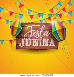 Festa junina illustration with party flags and paper lantern on yellow background vector brazil june festival design for greeting card,invitation or holiday poster PNG and Vector Confetti Background, Party Background, Geometric Background, Yellow Background, Adobe Illustrator, Carnival Invitations, Happy Birthday Balloon Banner, Party Flags, Blue Balloons