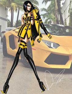 Lamborghini Life Style, Mellow in Yellow by DarenJ Fashion Art, High Fashion, Fashion Show, Womens Fashion, Fashion Sketch Template, Fashion Design Sketches, Fashion Illustration Dresses, Poses, Cartoon Styles