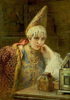Konstantin Egorovich Makovsky (Russian artist, 1839-1919) 'The Young Bride', 1890
