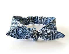Baby Toddler Girl Pre-tied Head Scarf Blue Paisley Baby Headband Photo Prop Hair Accessory by Lorettajos on Etsy