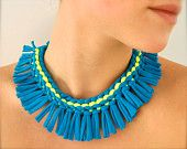 turquoise statement necklace - neon yellow blue tribal fringe fabric jewelry recycled