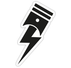 'Bolt Piston' Sticker by auto-pilot Custom Motorcycle Paint Jobs, Motorcycle Helmet Design, Motorcycle Stickers, Bike Stickers, Motorcycle Tattoos, Pistons Logo, Small Eagle Tattoo, Car Tattoos, Witch Tattoo