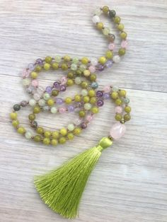 Spring Flowers 108 Bead Hand Knotted Mala Necklace by SaltAndMoon