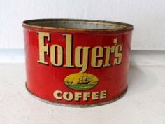 SALE Midcentury 1952 Vintage FOLGER'S COFFEE Tin from an Old Country Store Old Advertising Advertisement Metal Available now via Orphaned Treasures Etsy
