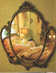 This is a lovely mirror. It looks like the mirrors on the dresser and vanity in my bedroom. I have never seen a wall mirror in a frame like this! Unique Mirrors, Old Mirrors, Vintage Mirrors, Beautiful Mirrors, Mirror Image, Mirror Mirror, Sunburst Mirror, Mirror House, French Mirror