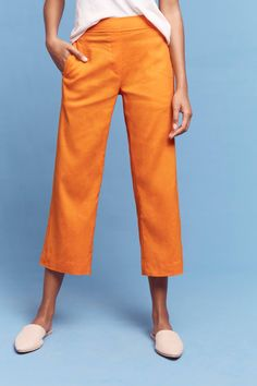 Orange Linen Crop Fl