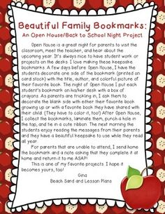 FREE - Open House or Back to School Family Bookmarks. Students decorate one side of the bookmark during school and parents decorate the other side when they come that evening. Great idea.