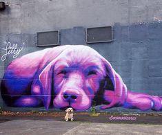 PURPLE STREET ART! by Silly Sully, Melbourne, 2014   Street Art   Street Artists   Art   modern art   urban artists   urban art   travel   graffiti   mural   Schomp MINI https://www.etsy.com/shop/urbanNYCdesigns?ref=hdr_shop_menu