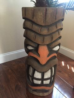 Tiki mask hand carved ..... Stands about 29 by 11 wide hang in your pool area or garden area ...... Fresh carved .......