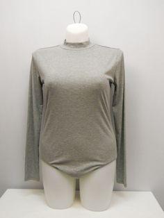 SIZE XL Womens Rib Body Suit NO BOUNDARIES Solid Grey Long Sleeves Mock Turtle  #NoBoundaries #BodySuit #Career