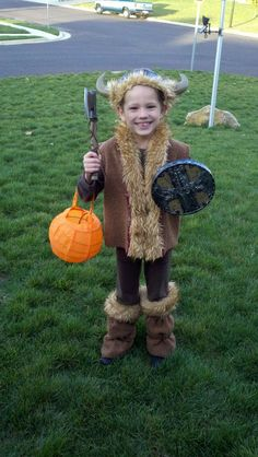 boys kids Viking How to Train Your Dragon halloween costume made from previous brown bear costume  sc 1 st  Pinterest : simple viking costume  - Germanpascual.Com