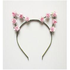 Pastel Pink Rose Cat Ears Headband ($19) ❤ liked on Polyvore