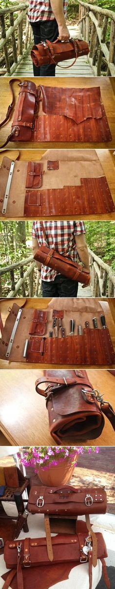 Mascon Leather Custom Leather Chef Knife Roll