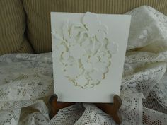 White on White Embossed  Card by BarbarasNook on Etsy
