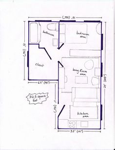 Studio Apartment Floor Plans Furniture Layout 400 sq. ft. layout with a creative floor plan. (actual studio
