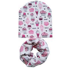 Cotton Baby Hat Set Ice Cream Print design