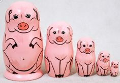Pink Pig 5 Piece Russian Wood Nesting Doll